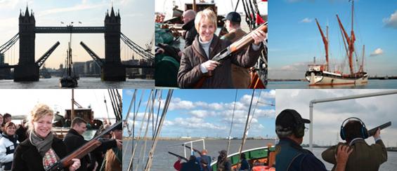 Blasting guns from a Thamesbarge